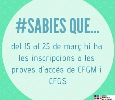 PROVES D'ACCÉS A CFGM i CFGS